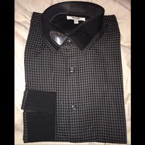 Murano Houndstooth Black & Grey Dress Shirt